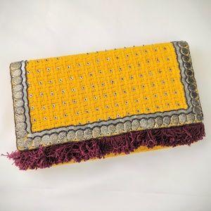 ✨BRAND NEW✨Mustard Yellow Boho Chic Clutch Purse